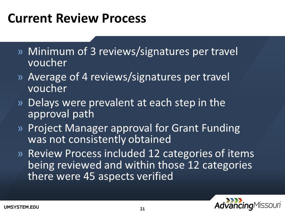 21 Current Review Process »Minimum of 3 reviews/signatures per travel voucher »Average of 4 reviews/signatures per travel voucher »Delays were prevale
