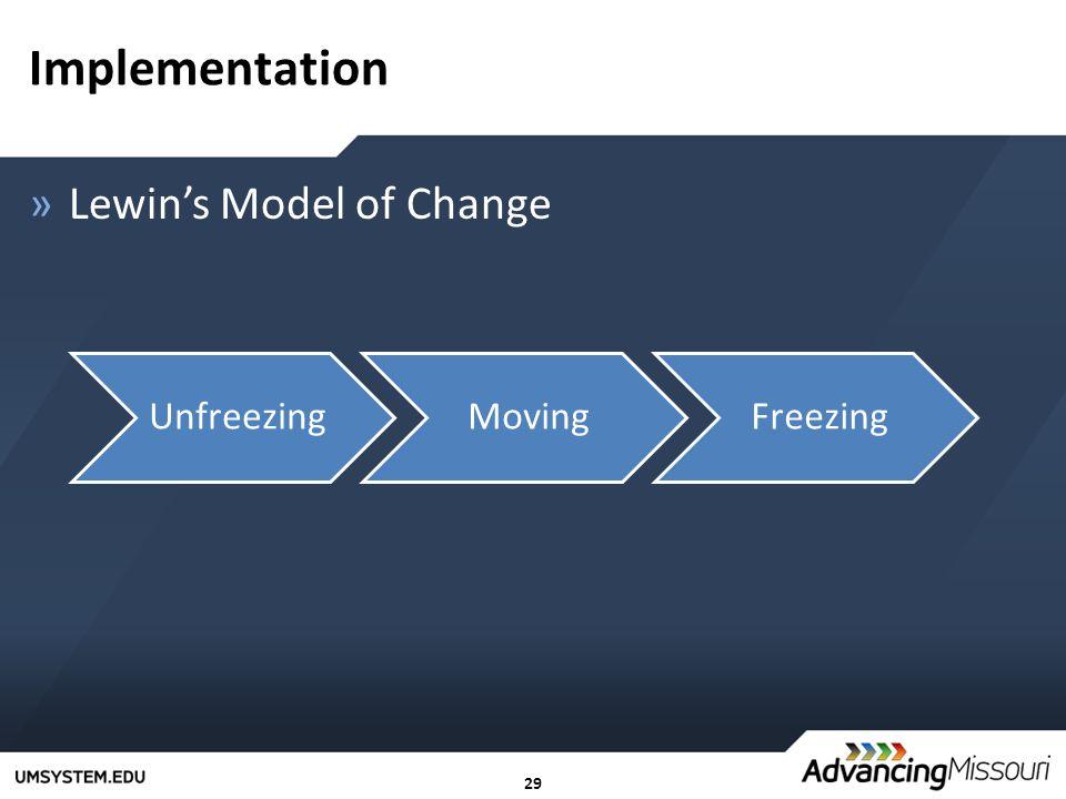 29 Implementation »Lewin's Model of Change UnfreezingMovingFreezing