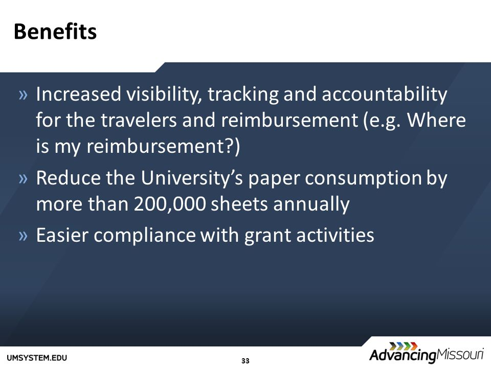 33 Benefits »Increased visibility, tracking and accountability for the travelers and reimbursement (e.g.