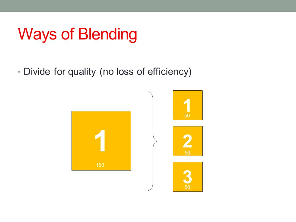 Ways of Blending Divide for quality (no loss of efficiency) 1 2 3 50 150 1