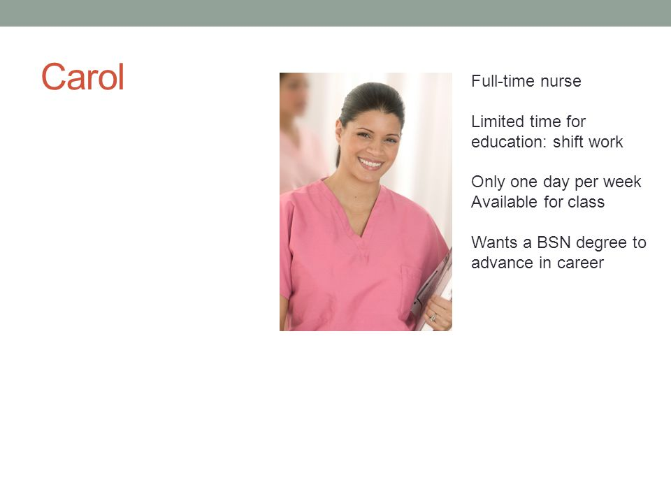 Carol Full-time nurse Limited time for education: shift work Only one day per week Available for class Wants a BSN degree to advance in career