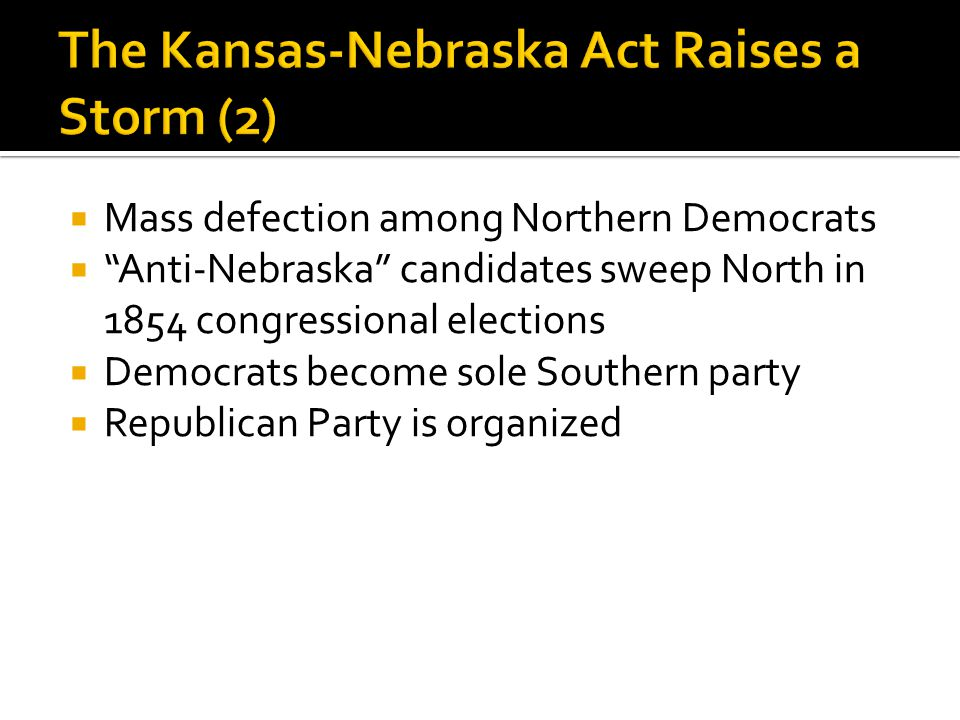  Mass defection among Northern Democrats  Anti-Nebraska candidates sweep North in 1854 congressional elections  Democrats become sole Southern party  Republican Party is organized