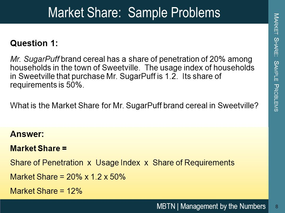 Market Share: Sample Problems M ARKET S HARE : S AMPLE P ROBLEMS Question 1: Mr.