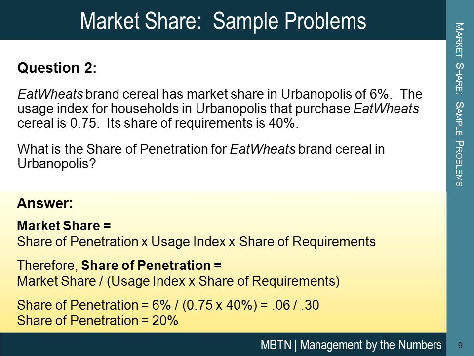 Market Share: Sample Problems M ARKET S HARE : S AMPLE P ROBLEMS 9 MBTN | Management by the Numbers Answer: Market Share = Share of Penetration x Usage Index x Share of Requirements Therefore, Share of Penetration = Market Share / (Usage Index x Share of Requirements) Share of Penetration = 6% / (0.75 x 40%) =.06 /.30 Share of Penetration = 20% Question 2: EatWheats brand cereal has market share in Urbanopolis of 6%.