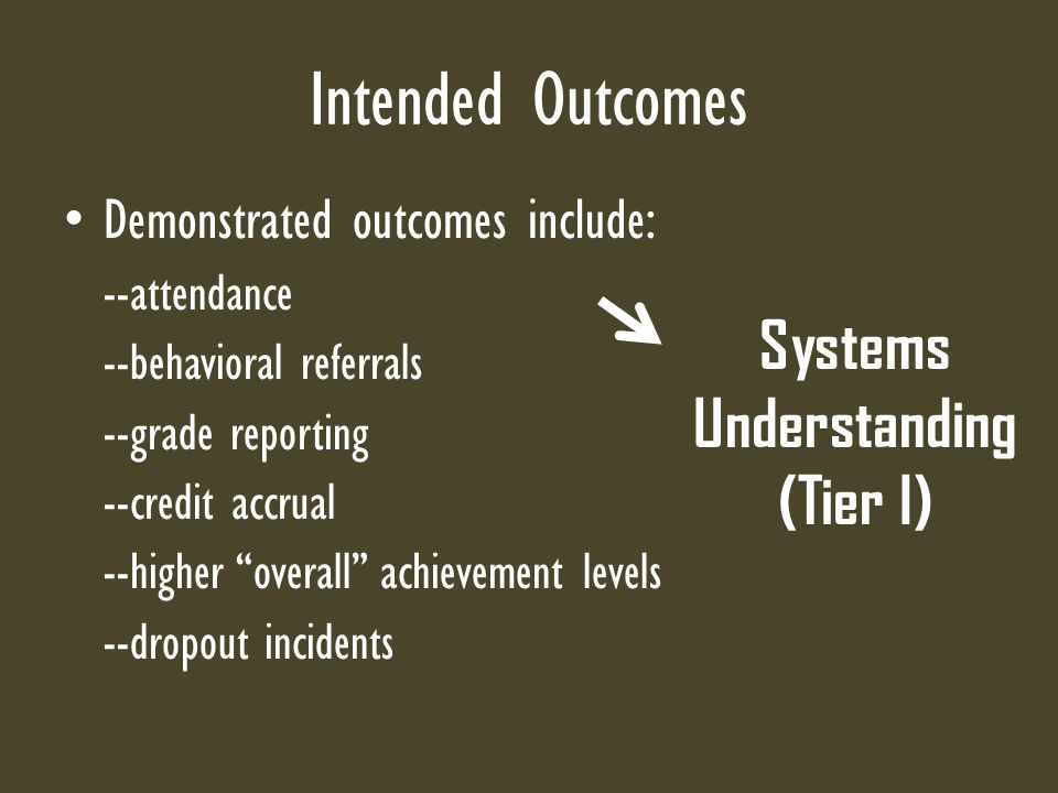 Intended Outcomes Demonstrated outcomes include: --attendance --behavioral referrals --grade reporting --credit accrual --higher overall achievement levels --dropout incidents Systems Understanding (Tier I)