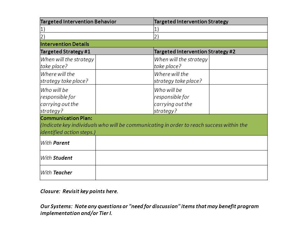 Targeted Intervention BehaviorTargeted Intervention Strategy 1) 2) Intervention Details Targeted Strategy #1Targeted Intervention Strategy #2 When wil