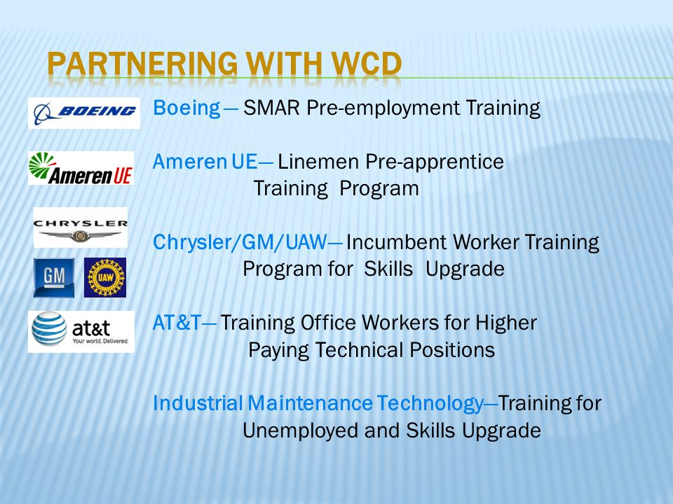 Boeing — SMAR Pre-employment Training Ameren UE— Linemen Pre-apprentice Training Program Chrysler/GM/UAW— Incumbent Worker Training Program for Skills Upgrade AT&T— Training Office Workers for Higher Paying Technical Positions Industrial Maintenance Technology—Training for Unemployed and Skills Upgrade