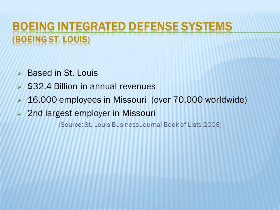  Based in St. Louis  $32.4 Billion in annual revenues  16,000 employees in Missouri (over 70,000 worldwide)  2nd largest employer in Missouri (Sou