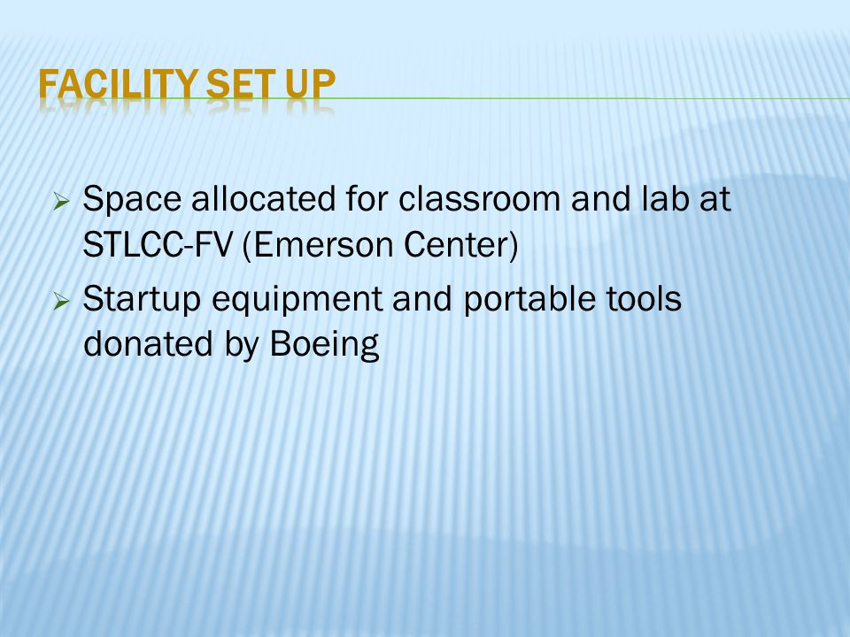  Space allocated for classroom and lab at STLCC-FV (Emerson Center)  Startup equipment and portable tools donated by Boeing