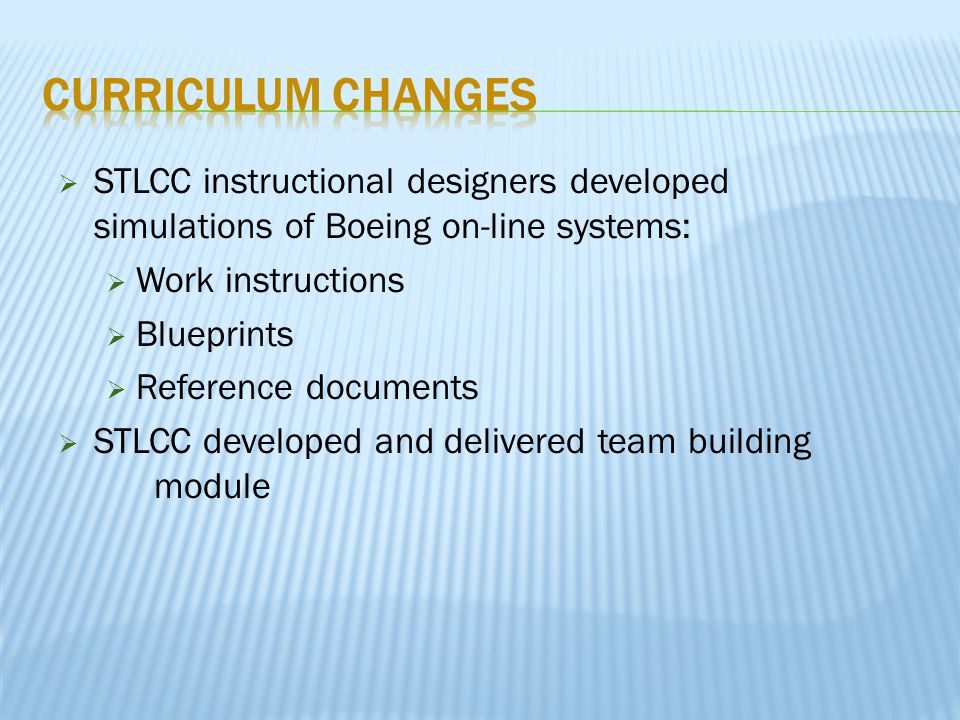  STLCC instructional designers developed simulations of Boeing on-line systems:  Work instructions  Blueprints  Reference documents  STLCC developed and delivered team building module