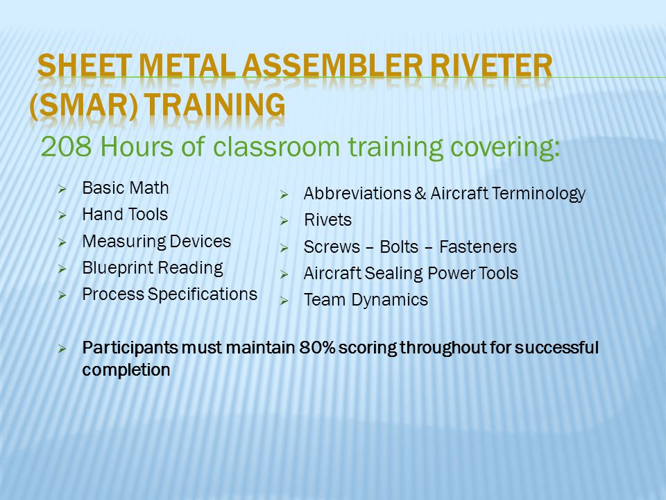  Basic Math  Hand Tools  Measuring Devices  Blueprint Reading  Process Specifications  Participants must maintain 80% scoring throughout for successful completion 208 Hours of classroom training covering:  Abbreviations & Aircraft Terminology  Rivets  Screws – Bolts – Fasteners  Aircraft Sealing Power Tools  Team Dynamics