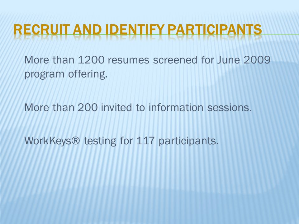 More than 1200 resumes screened for June 2009 program offering. More than 200 invited to information sessions. WorkKeys® testing for 117 participants.