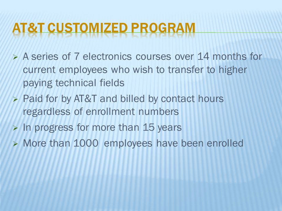  A series of 7 electronics courses over 14 months for current employees who wish to transfer to higher paying technical fields  Paid for by AT&T and billed by contact hours regardless of enrollment numbers  In progress for more than 15 years  More than 1000 employees have been enrolled