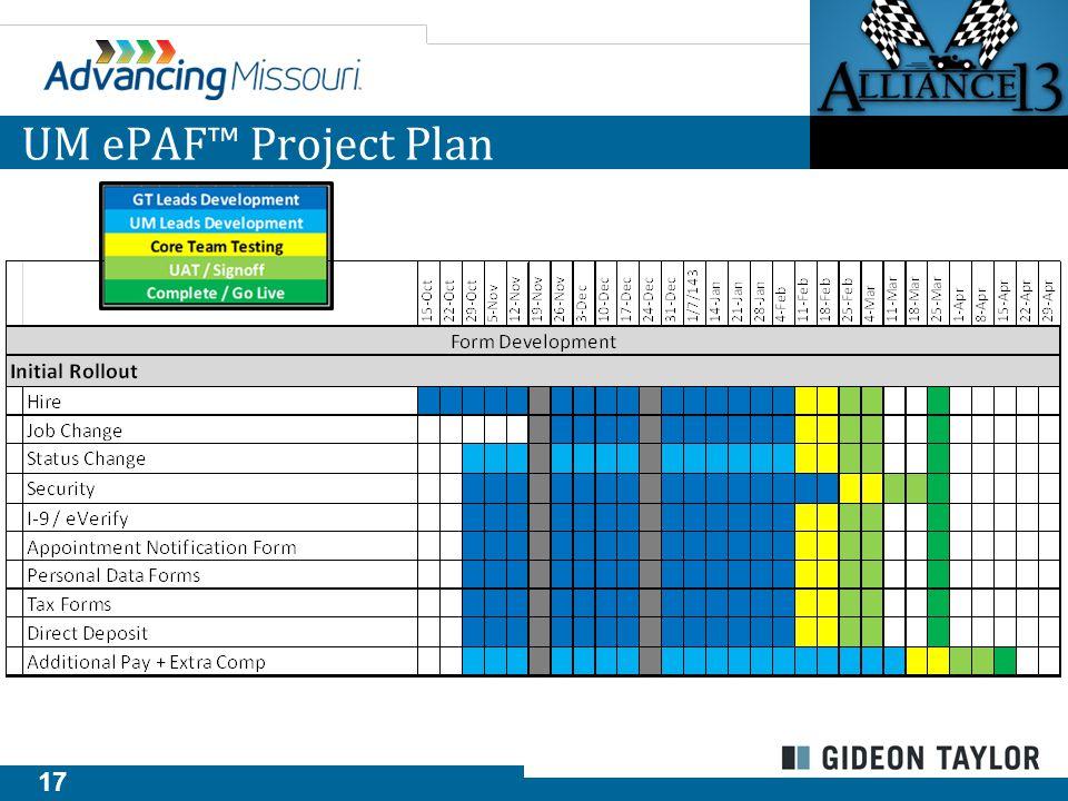 17 UM ePAF™ Project Plan