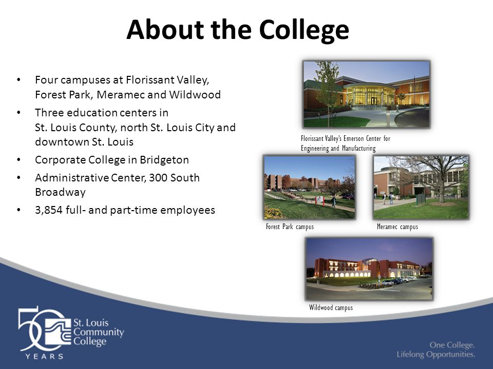 About the College Four campuses at Florissant Valley, Forest Park, Meramec and Wildwood Three education centers in St.
