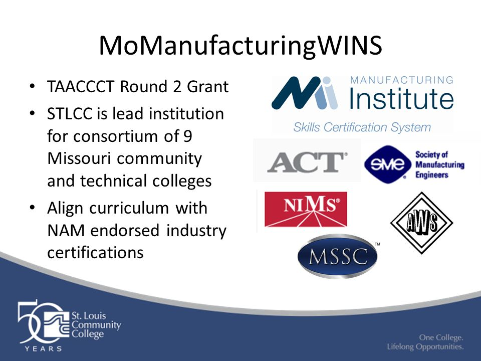 MoManufacturingWINS TAACCCT Round 2 Grant STLCC is lead institution for consortium of 9 Missouri community and technical colleges Align curriculum with NAM endorsed industry certifications