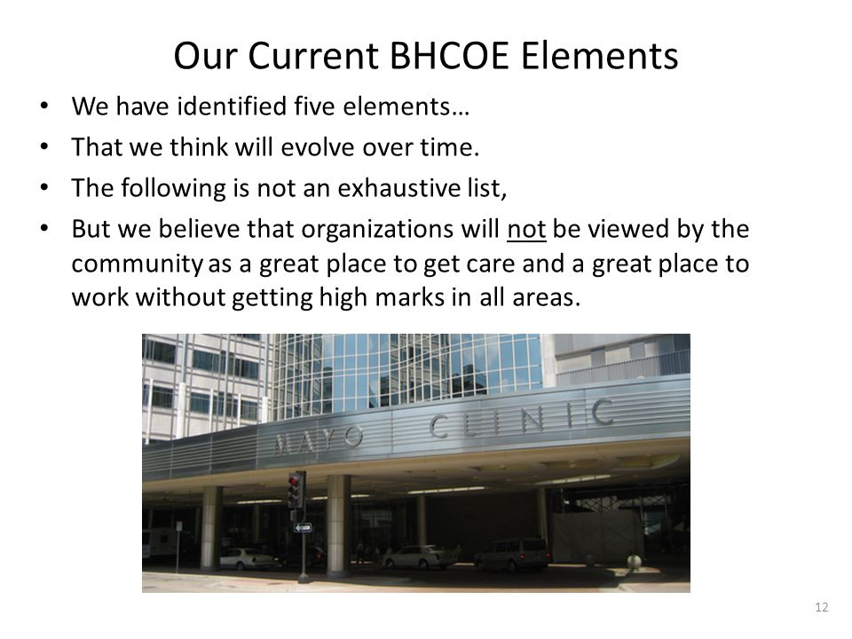 Our Current BHCOE Elements We have identified five elements… That we think will evolve over time.