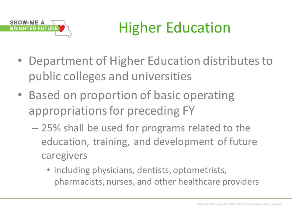 Higher Education Department of Higher Education distributes to public colleges and universities Based on proportion of basic operating appropriations for preceding FY – 25% shall be used for programs related to the education, training, and development of future caregivers including physicians, dentists, optometrists, pharmacists, nurses, and other healthcare providers