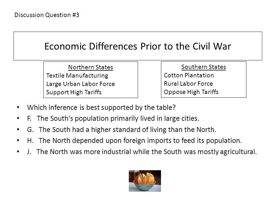 Economic Differences Prior to the Civil War Which inference is best supported by the table.