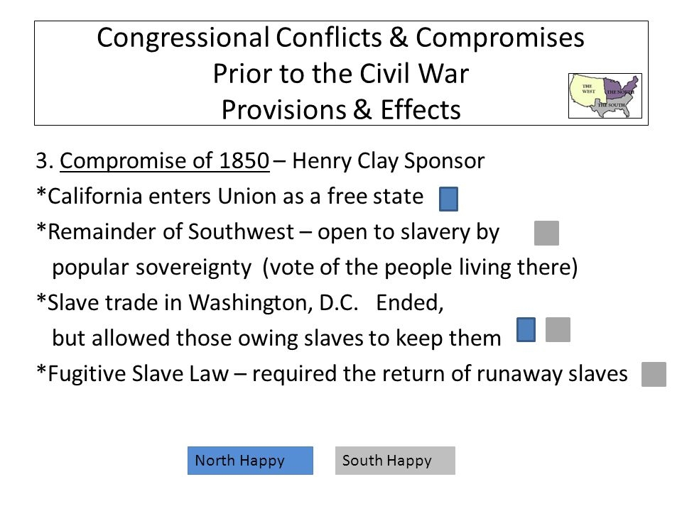 Congressional Conflicts & Compromises Prior to the Civil War Provisions & Effects 3.