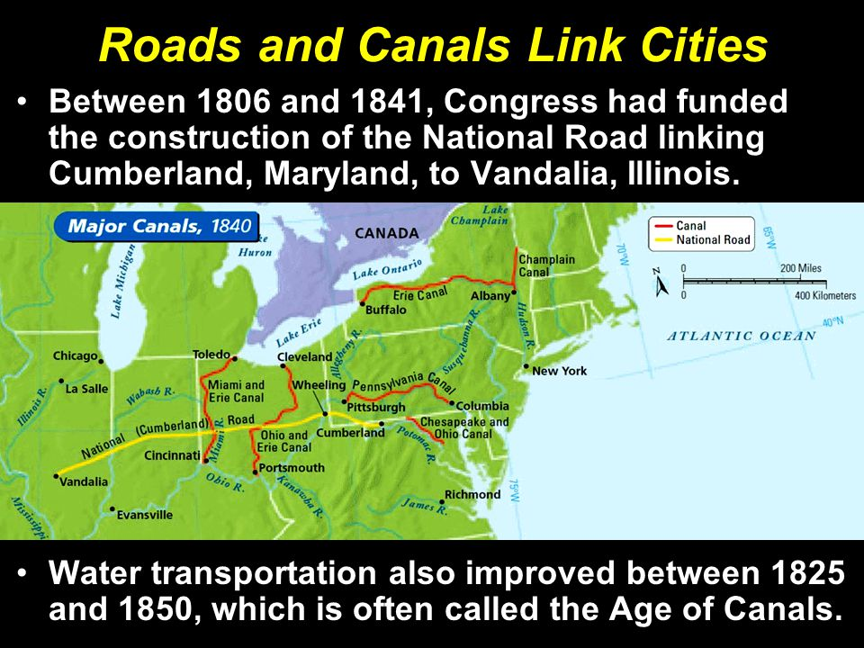Roads and Canals Link Cities Between 1806 and 1841, Congress had funded the construction of the National Road linking Cumberland, Maryland, to Vandalia, Illinois.