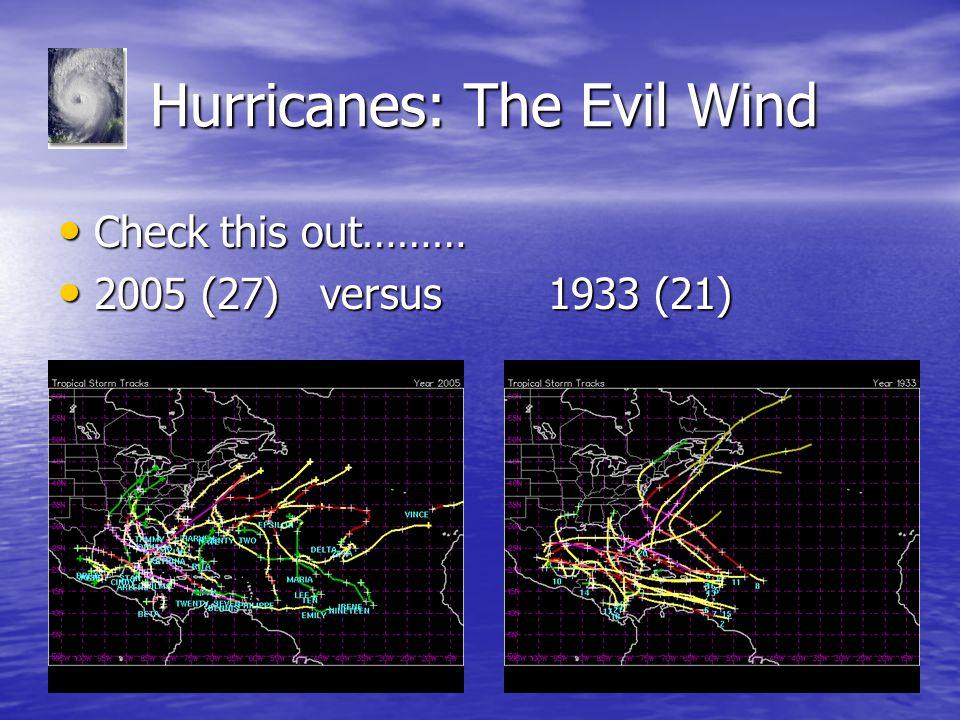 Hurricanes: The Evil Wind Hurricanes: The Evil Wind Check this out……… Check this out……… 2005 (27) versus 1933 (21) 2005 (27) versus 1933 (21)
