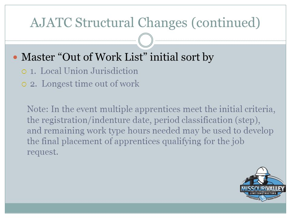 "AJATC Structural Changes (continued) Master ""Out of Work List"" initial sort by  1. Local Union Jurisdiction  2. Longest time out of work Note: In th"
