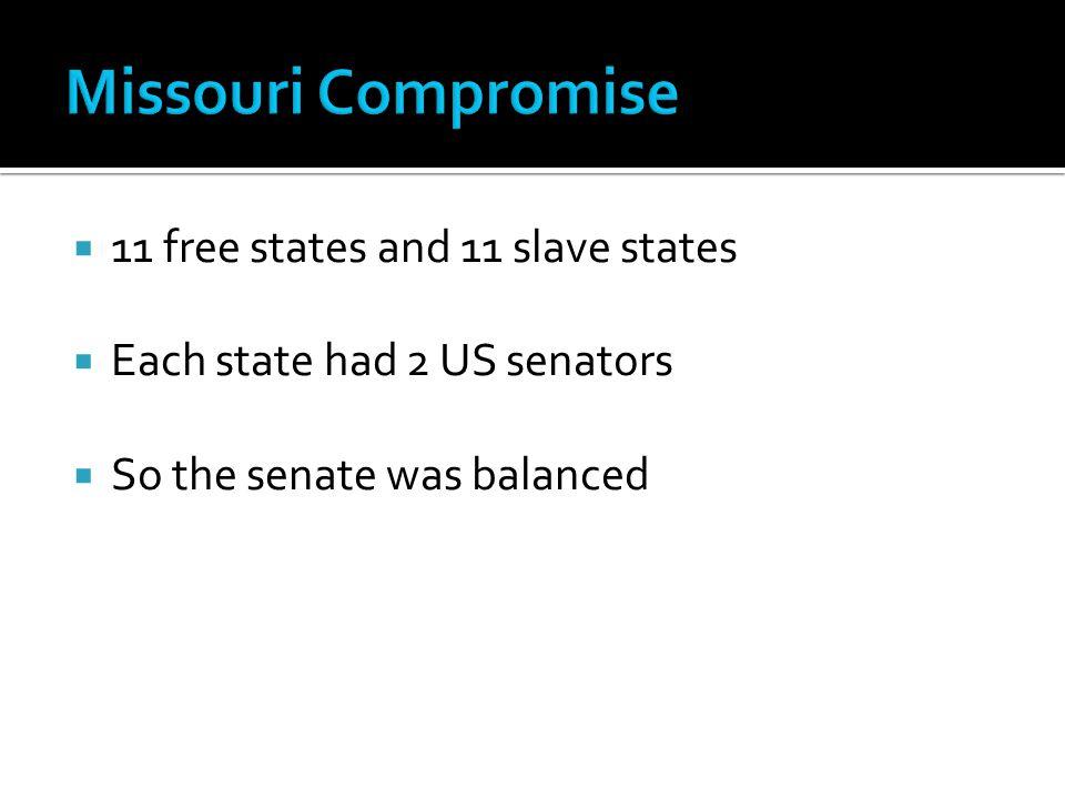  11 free states and 11 slave states  Each state had 2 US senators  So the senate was balanced