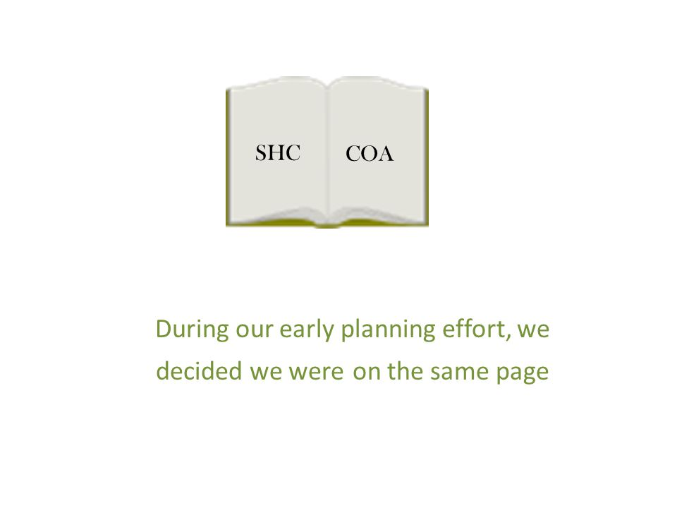 During our early planning effort, we decided we were on the same page SHC COA