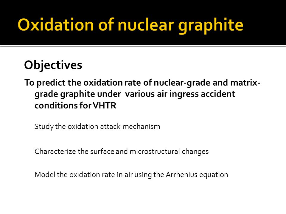 To predict the oxidation rate of nuclear-grade and matrix- grade graphite under various air ingress accident conditions for VHTR Study the oxidation attack mechanism Characterize the surface and microstructural changes Model the oxidation rate in air using the Arrhenius equation Objectives
