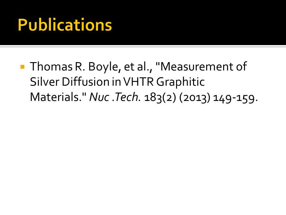  Thomas R. Boyle, et al., Measurement of Silver Diffusion in VHTR Graphitic Materials. Nuc.Tech.