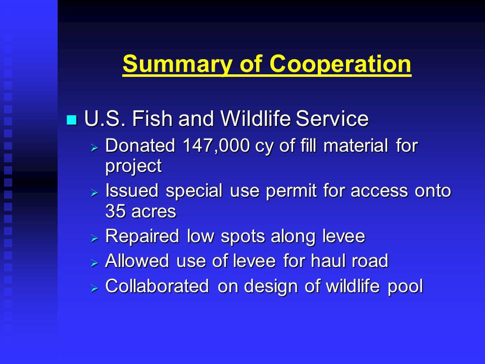 Summary of Cooperation U.S. Fish and Wildlife Service U.S.