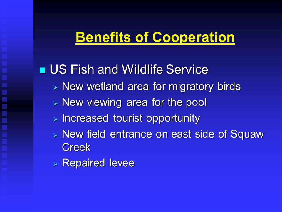 Benefits of Cooperation US Fish and Wildlife Service US Fish and Wildlife Service  New wetland area for migratory birds  New viewing area for the pool  Increased tourist opportunity  New field entrance on east side of Squaw Creek  Repaired levee