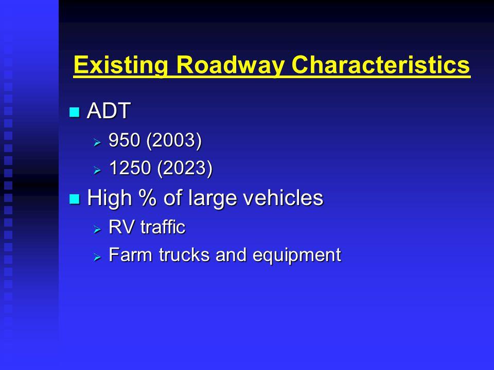 Existing Roadway Characteristics ADT ADT  950 (2003)  1250 (2023) High % of large vehicles High % of large vehicles  RV traffic  Farm trucks and equipment