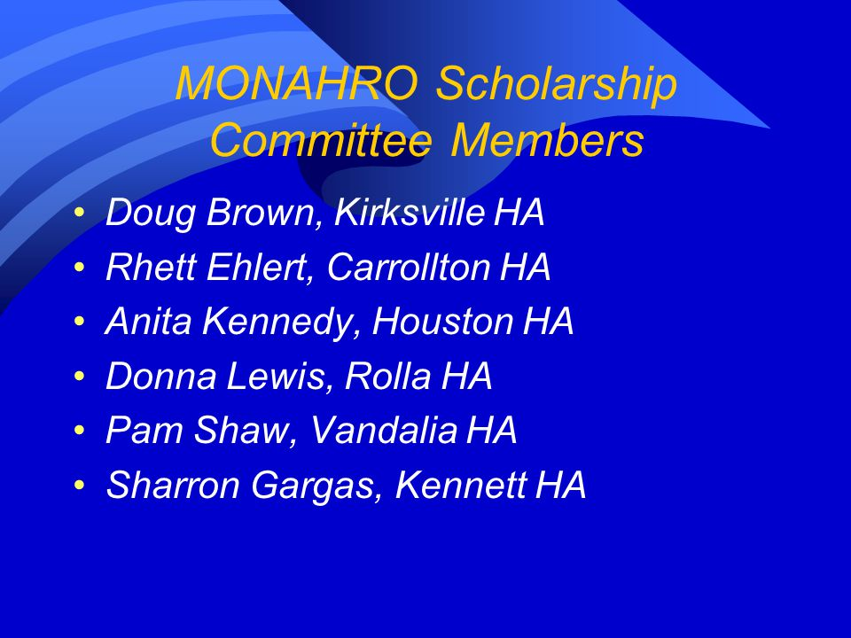 Missouri NAHRO 2010 Scholarship Award Recipients