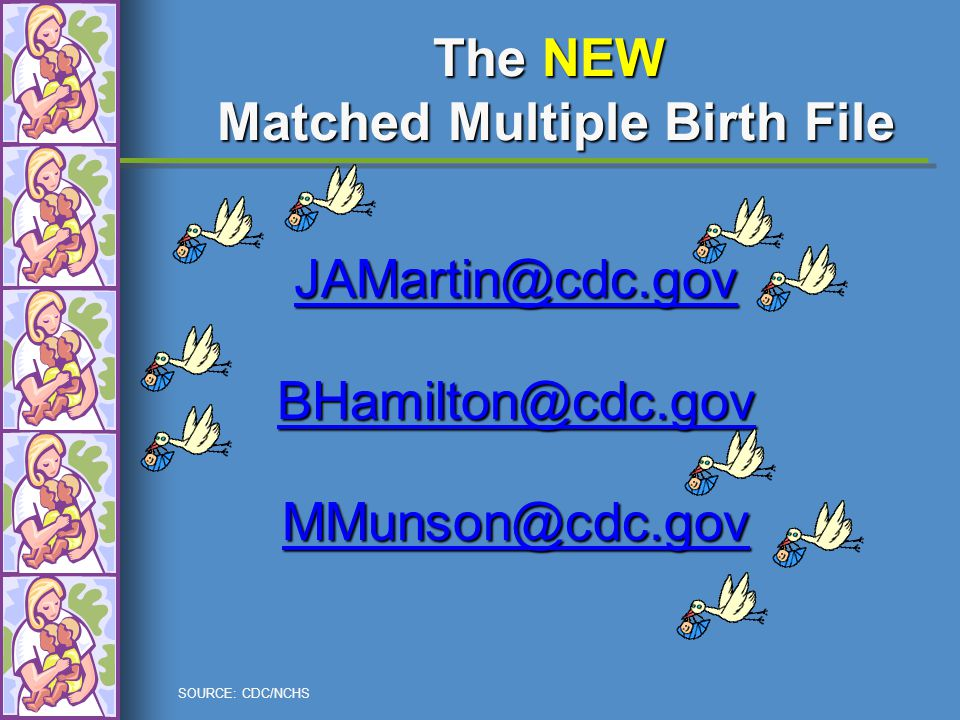 SOURCE: CDC/NCHS The NEW Matched Multiple Birth File JAMartin@cdc.gov BHamilton@cdc.gov MMunson@cdc.gov