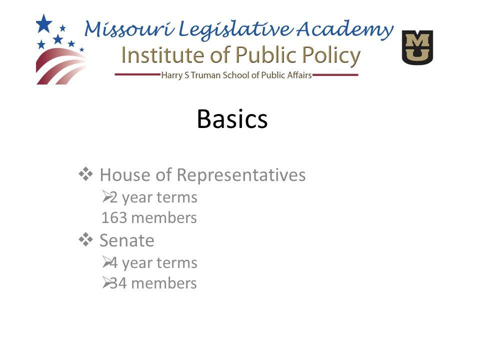  House of Representatives  2 year terms 163 members  Senate  4 year terms  34 members Basics