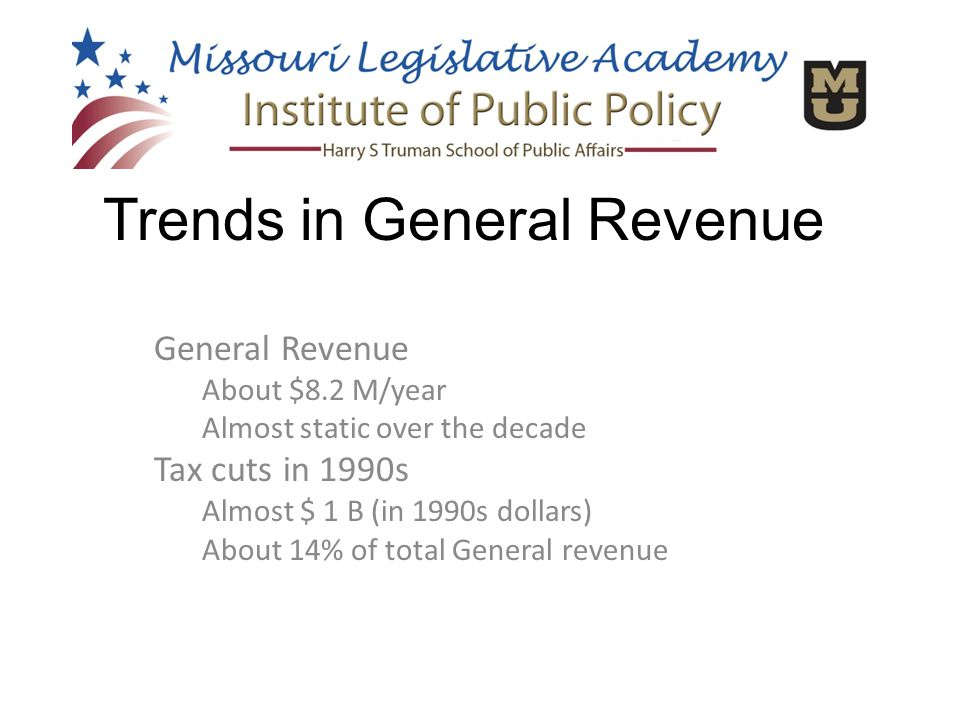 General Revenue About $8.2 M/year Almost static over the decade Tax cuts in 1990s Almost $ 1 B (in 1990s dollars) About 14% of total General revenue Trends in General Revenue