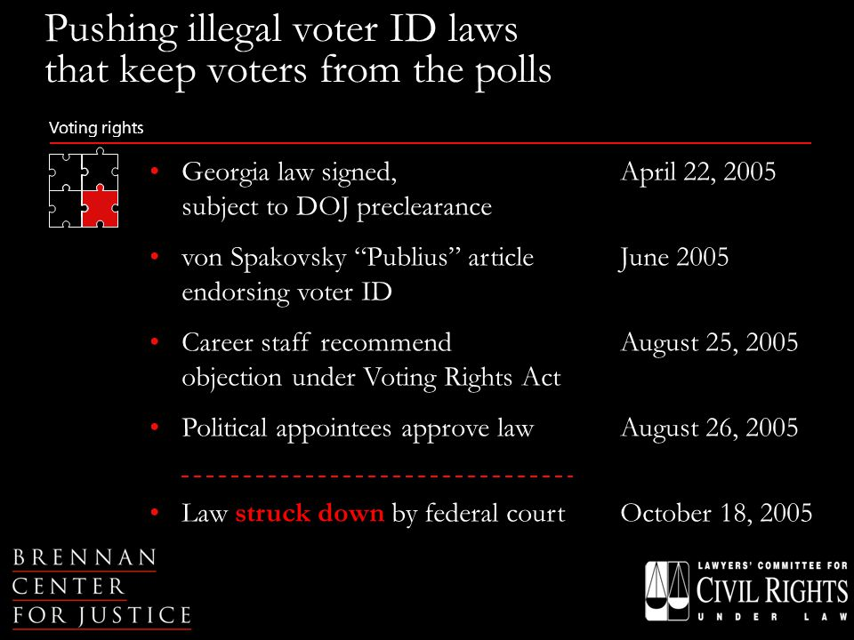 Voting rights Georgia law signed,April 22, 2005 subject to DOJ preclearance von Spakovsky Publius article June 2005 endorsing voter ID Career staff recommendAugust 25, 2005 objection under Voting Rights Act Political appointees approve lawAugust 26, 2005 Law struck down by federal courtOctober 18, 2005 Pushing illegal voter ID laws that keep voters from the polls