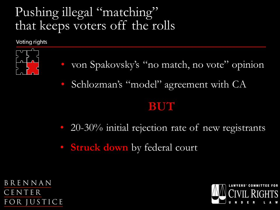 Voting rights Pushing illegal matching that keeps voters off the rolls 20-30% initial rejection rate of new registrants Struck down by federal court von Spakovsky's no match, no vote opinion Schlozman's model agreement with CA BUT
