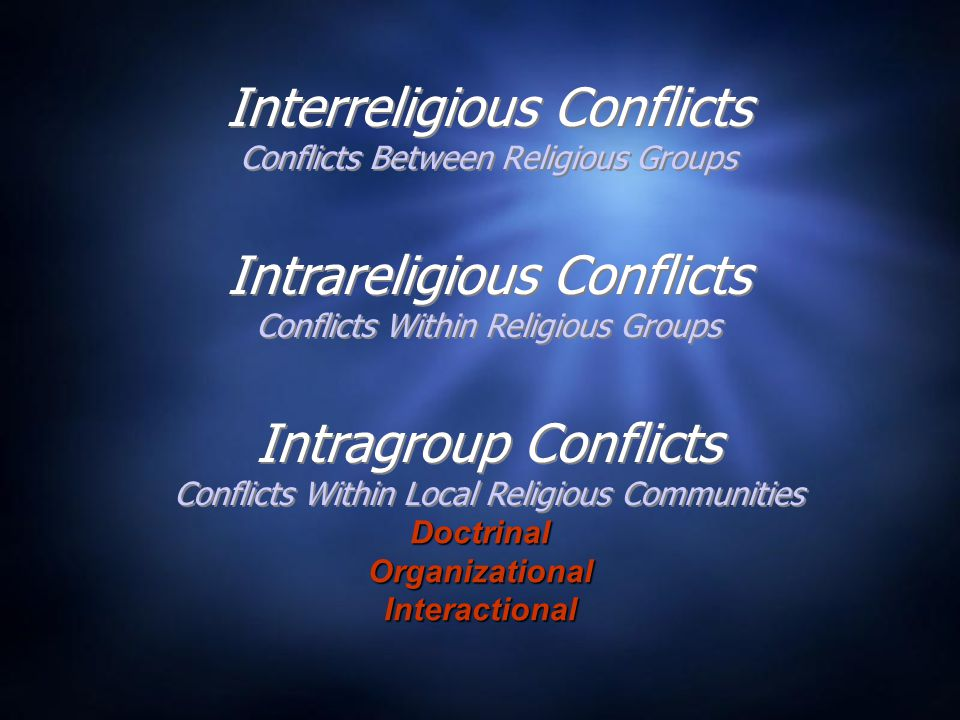 Interreligious Conflicts Conflicts Between Religious Groups Intragroup Conflicts Conflicts Within Local Religious Communities Intrareligious Conflicts Conflicts Within Religious Groups DoctrinalOrganizationalInteractional