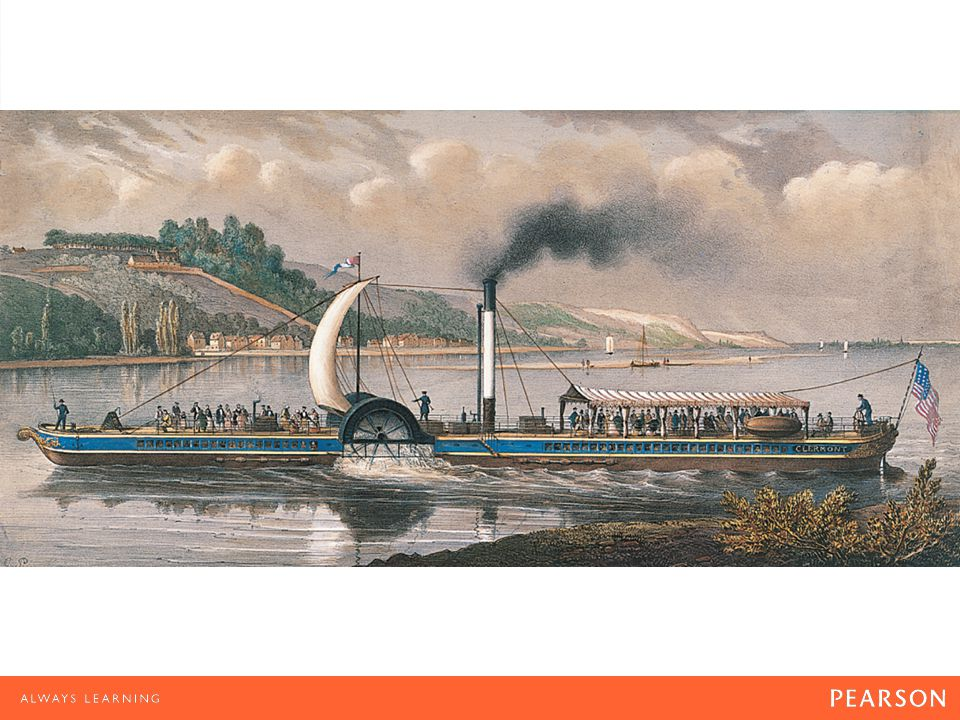 """River Transport The Clermont on the Hudson (1830–1835) by Charles Pensee. Although some called his Clermont """"Fulton's Folly,"""" Robert Fulton reduced th"""