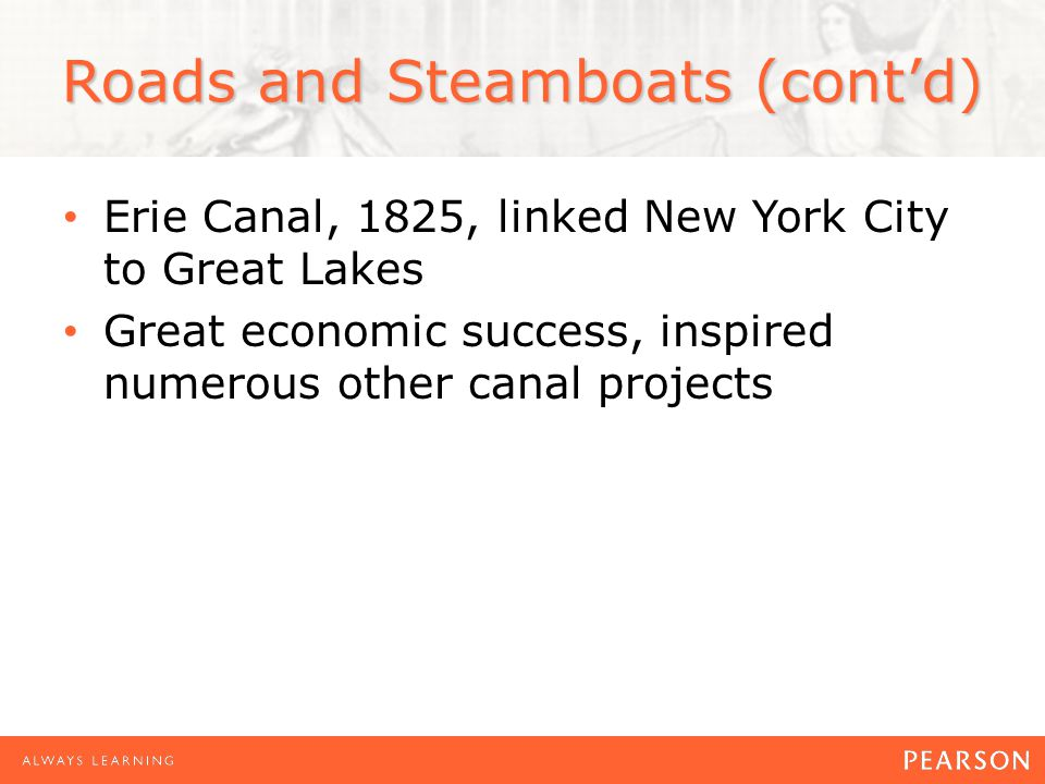 Roads and Steamboats (cont'd) Erie Canal, 1825, linked New York City to Great Lakes Great economic success, inspired numerous other canal projects