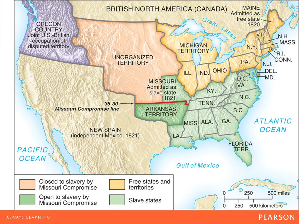 Map 9.1 The Missouri Compromise, 1820– 1821 The Missouri Compromise kept the balance of power in the Senate by admitting Missouri as a slave state and