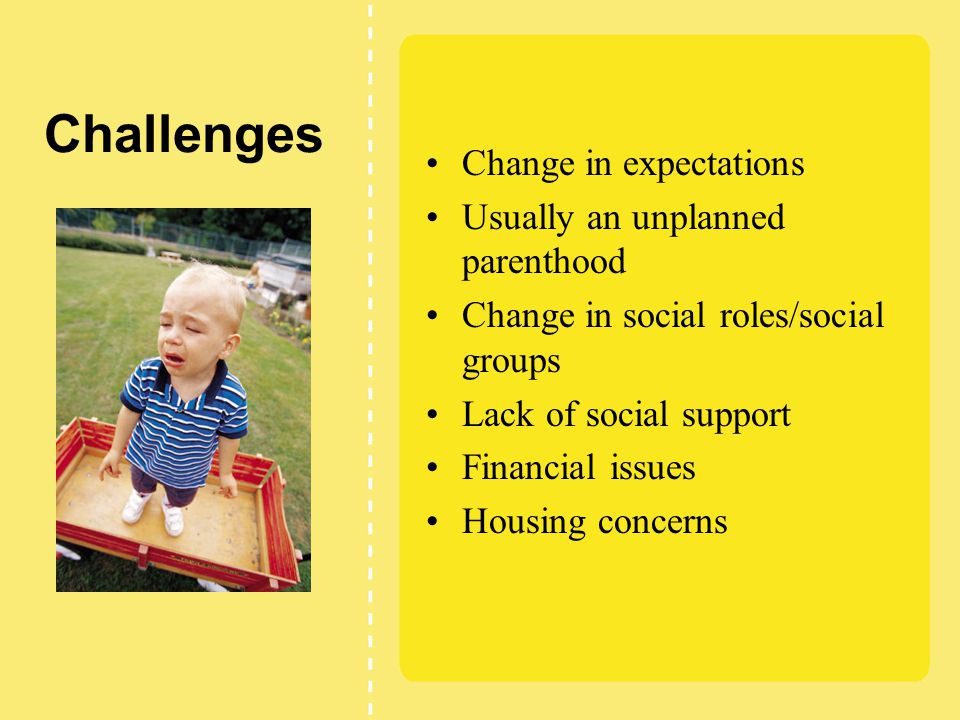 Challenges Change in expectations Usually an unplanned parenthood Change in social roles/social groups Lack of social support Financial issues Housing concerns