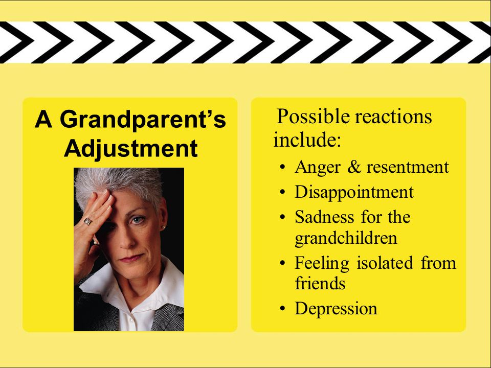 A Grandparent's Adjustment Possible reactions include: Anger & resentment Disappointment Sadness for the grandchildren Feeling isolated from friends Depression