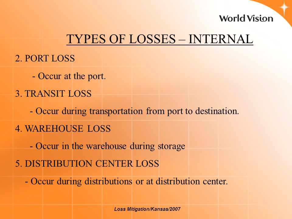 TYPES OF LOSSES – INTERNAL 2. PORT LOSS - Occur at the port. 3. TRANSIT LOSS - Occur during transportation from port to destination. 4. WAREHOUSE LOSS