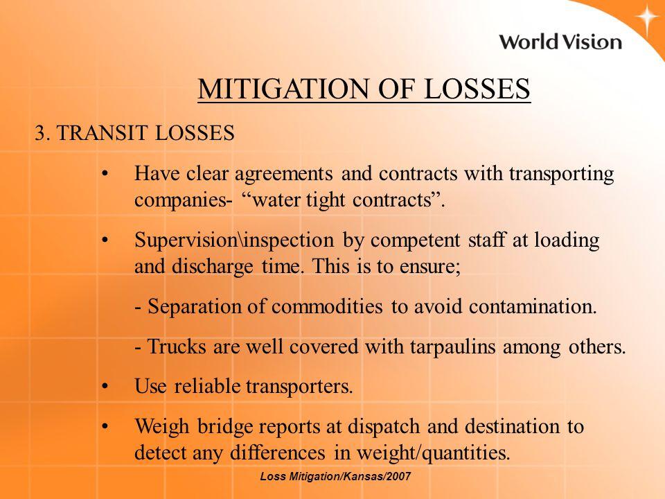 MITIGATION OF LOSSES 4.