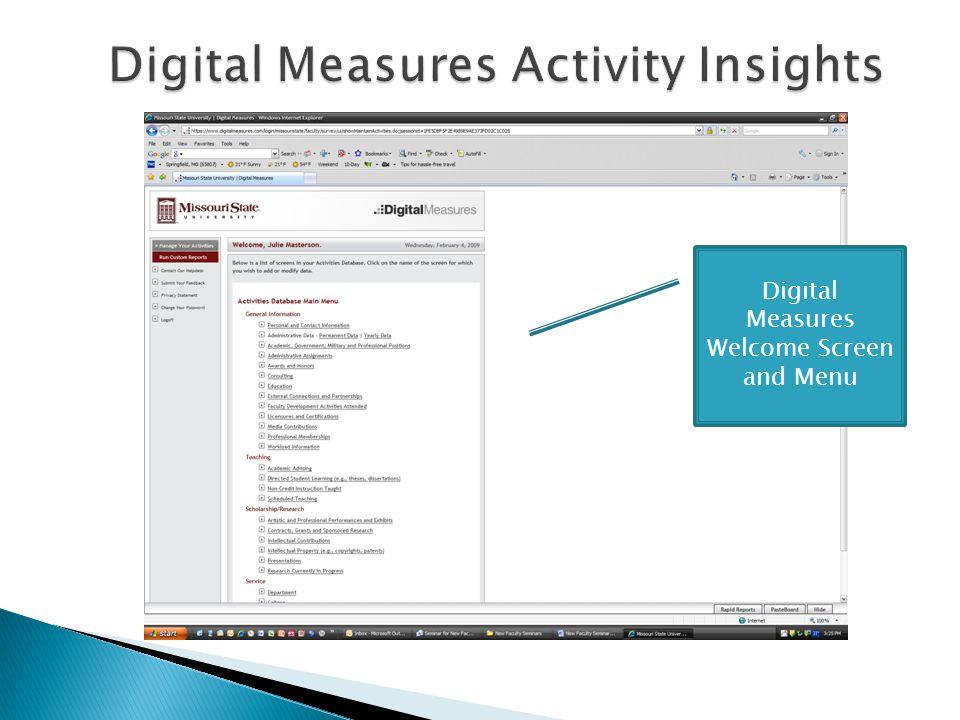 Digital Measures Welcome Screen and Menu