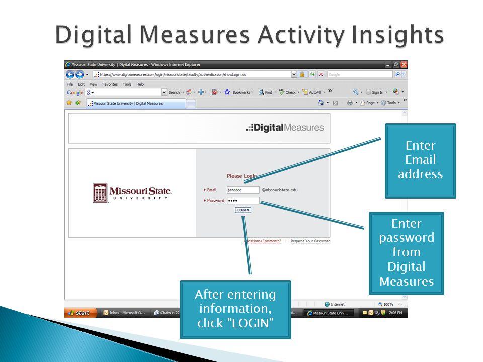 Enter Email address Enter password from Digital Measures After entering information, click LOGIN